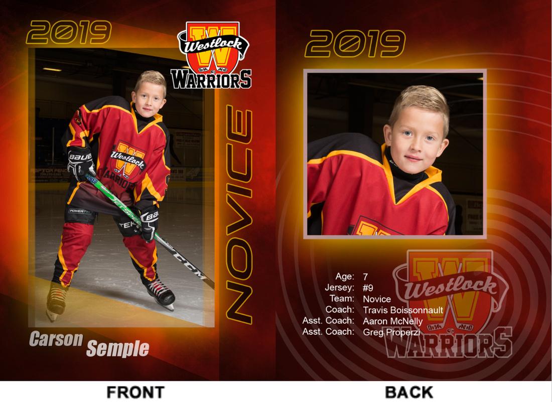 Custom cards for the Westlock hockey league
