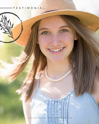 A teenager's testimonial of her photo session